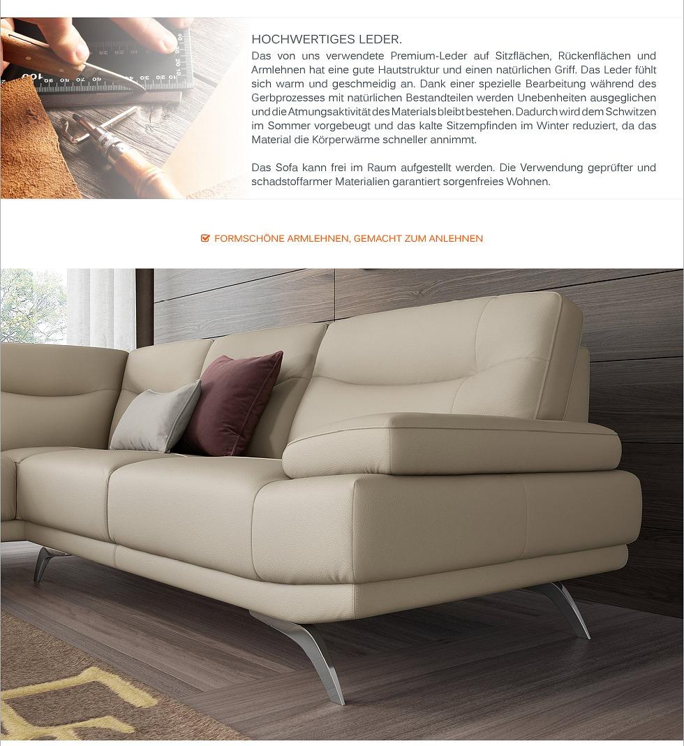 Echt leder eck sofa eck couch garnitur designer for Polstergruppe u form