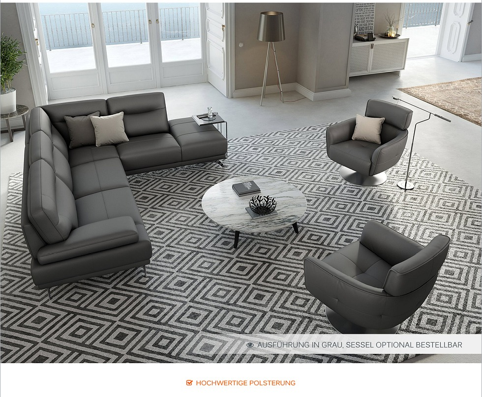 echt leder ecksofa eckcouch garnitur designer polsterecke polstergarnitur sofa ebay. Black Bedroom Furniture Sets. Home Design Ideas