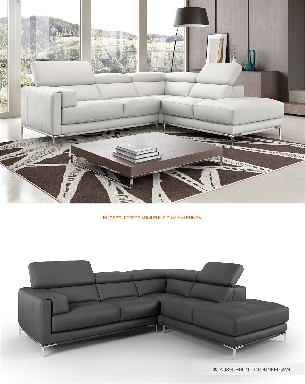 designer couch design sofa echt leder ecksofa eckcouch garnitur sofalandschaft ebay. Black Bedroom Furniture Sets. Home Design Ideas