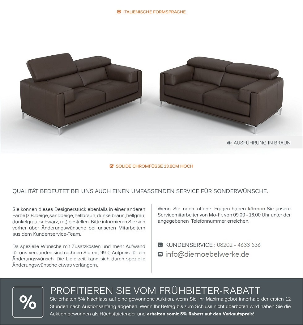 Ledersofa couchgarnitur ledercouch sofagarnitur 2 sitzer for Sitzgarnitur u form