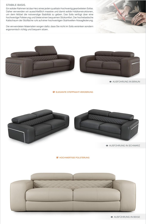 Designer sofa ledercouch garnitur sofagarnitur zweisitzer - Italienische ledercouch ...
