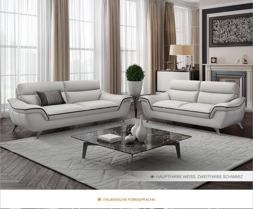 Leder sofa garnitur ledercouch couchgarnitur polstergruppe - Italienische ledercouch ...