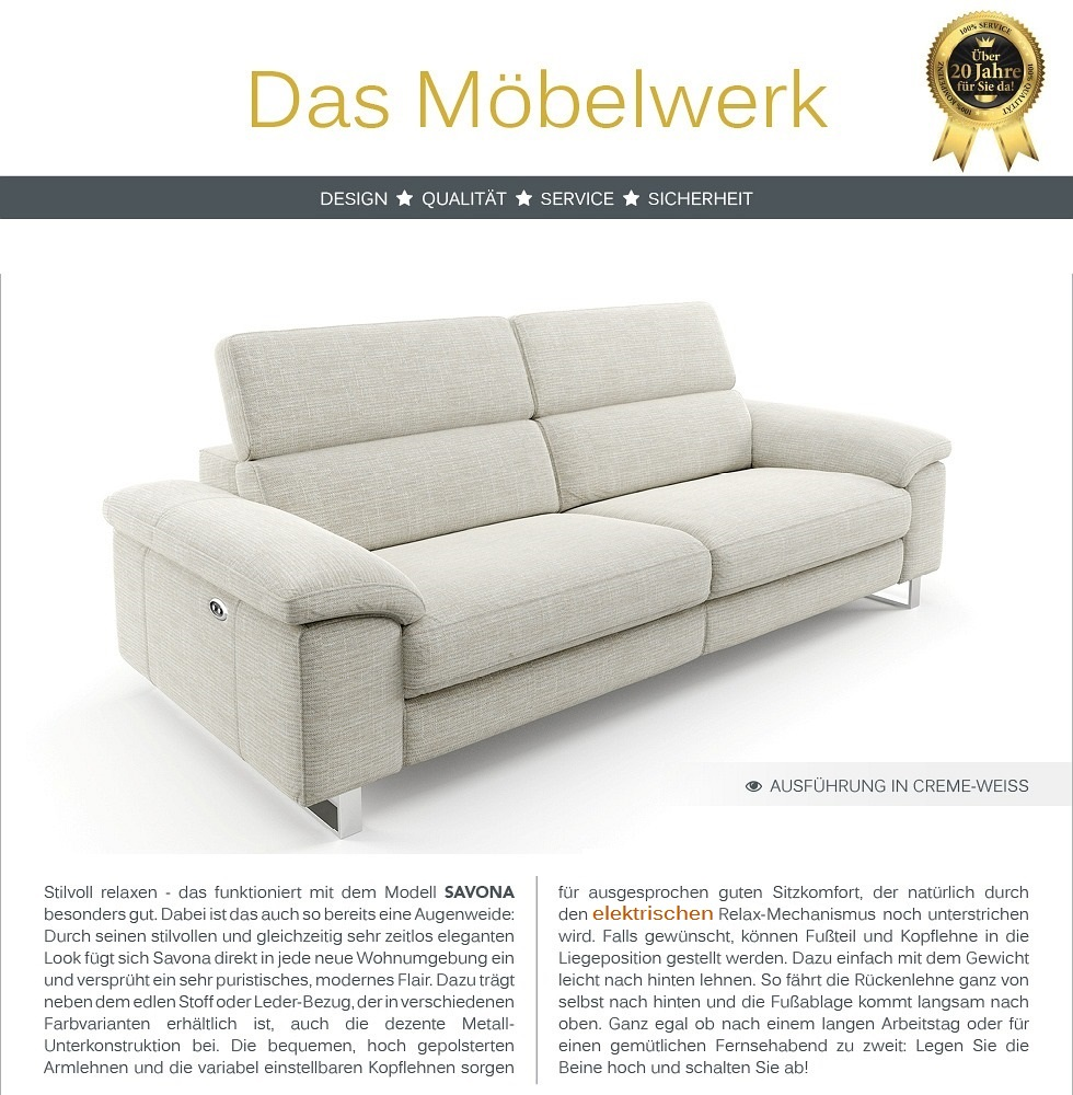 Funktionscouch Stoff Sofa Couch Polstergarnitur 2-Sitzer Relax-Sessel ...