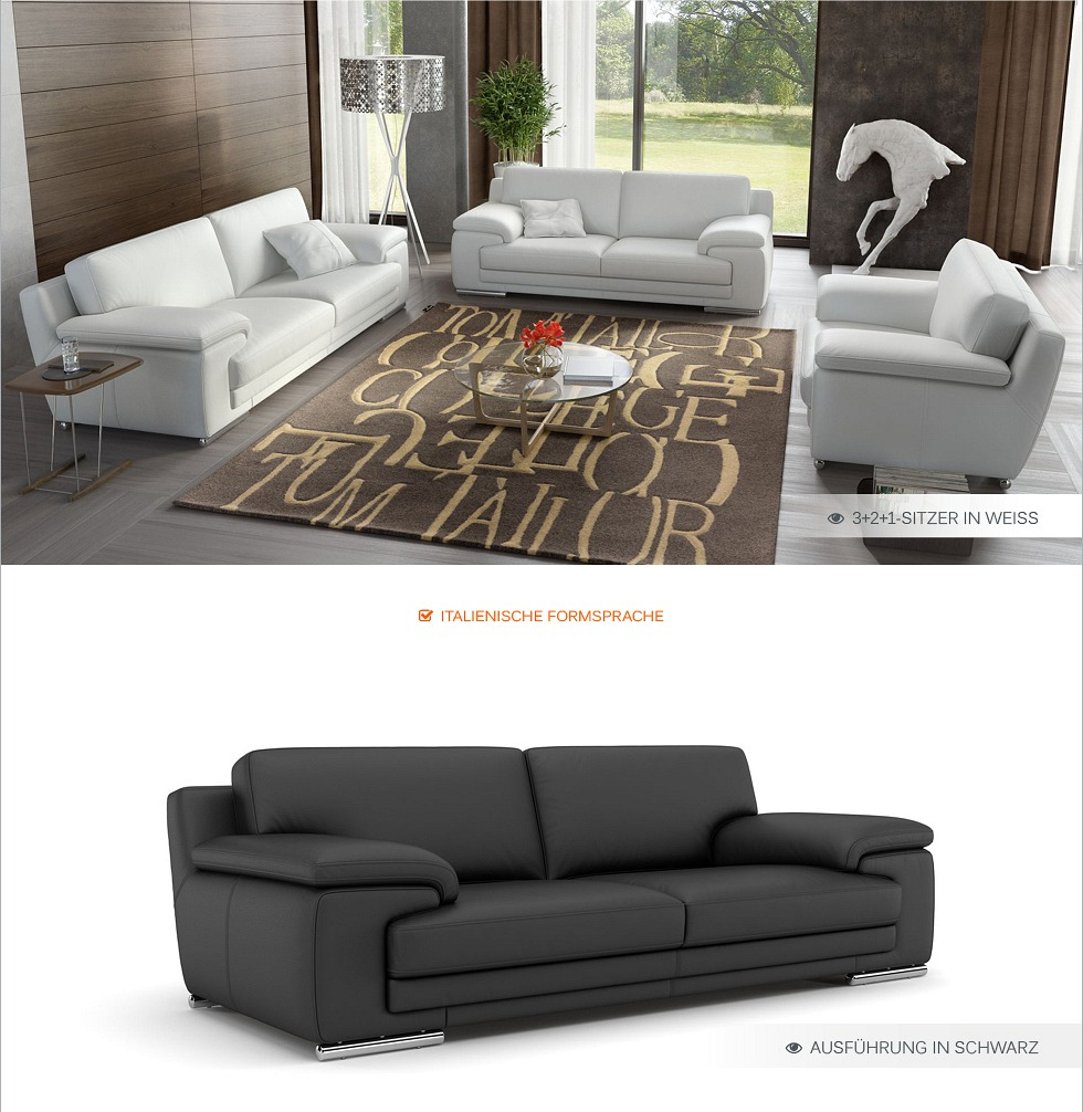 designer ledergarnitur echt leder couch sofagarnitur wohnlandschaft 2sitzer 2er ebay. Black Bedroom Furniture Sets. Home Design Ideas